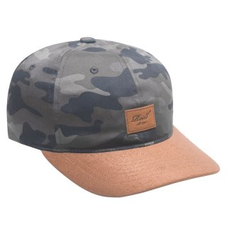 Reell 6 Panel Curved Suede Snapback Cap  - camouflage