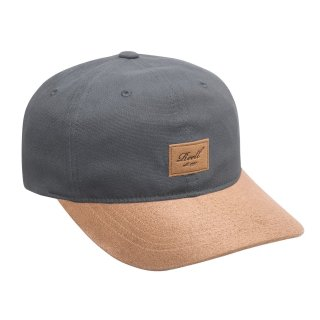 Reell 6 Panel Curved Suede Snapback Cap  - charcoal