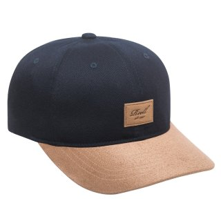 Reell 6 Panel Curved Suede Snapback Cap  - navy