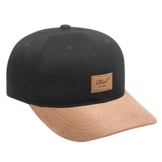 Reell 6 Panel Curved Suede Snapback Cap  - schwarz