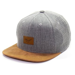 Reell 6 Panel Suede Snapback Cap  - grey crosshatch