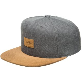 Reell 6 Panel Suede Snapback Cap  - heather charcoal