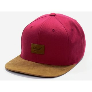 Reell 6 Panel Suede Snapback Cap  - wine red