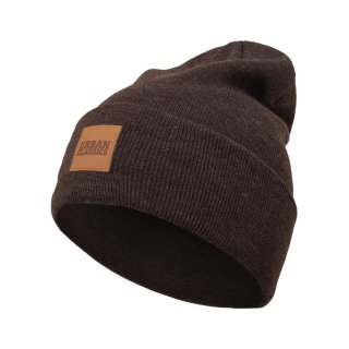 Urban Classics Leatherpatch Long Beanie - braun