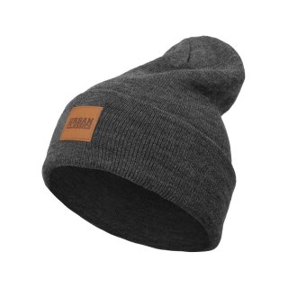 Urban Classics Leatherpatch Long Beanie - charcoal