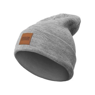 Urban Classics Leatherpatch Long Beanie - grey