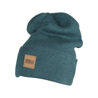Urban Classics Leatherpatch Long Beanie - jasper