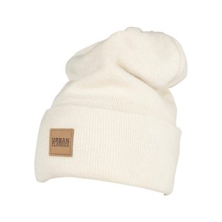 Urban Classics Leatherpatch Long Beanie - sand