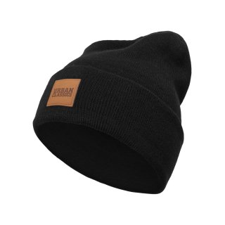 Urban Classics Leatherpatch Long Beanie - schwarz