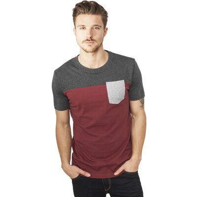 Urban Classics T-Shirt 3-Tone burgundy/charcoal/grey
