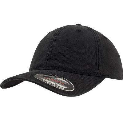 Flexfit Baseball Cap Garment Washed Cotton Dad Hat schwarz S/M