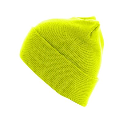Mütze Unisex Flap Long Version Beanie  neon gelb
