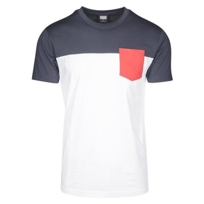Urban Classics T-Shirt 3-Tone white/navy/firered