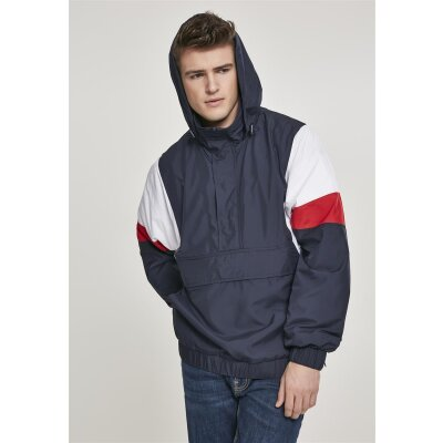 Urban Classics Windbreaker 3-Tone Pull Over navy/firered XXL