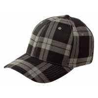 Flexfit Baseball Cap tartan plaid black grey
