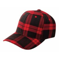 Flexfit Baseball Cap tartan plaid black red
